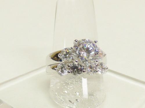 Sterling Silver Brilliant Sparkling Engagement/Wedding Ring Set 6.7g