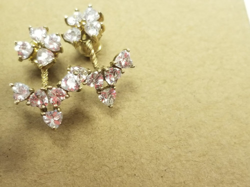 Gold-Over-925 Silver Double Studded CZ Floral Earrings