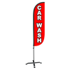 Car Wash Feather Flag Red with  X stand