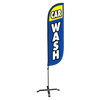 Car Wash Feather Flag Blue & Yellow - 5ft with X stand
