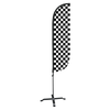 5ft Black & White Checkered Feather Flag with X stand pole set