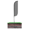 5ft Black & White Checkered Feather Flag with spike ground pole set