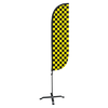 5ft Black & Yellow Checkered Feather Flag with X stand pole set