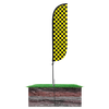 5ft Black & Yellow Checkered Feather Flag with spike ground pole set