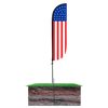 American Flag Feather Flag Standard - 5ft with spike pole set in ground
