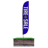 Tire Sale Feather Flag Blue Flag Height: 12ft Assembled on pole height: 15ft with spike stand pole set