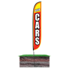 Used Cars Feather Flag Flag Height: 12ft Assembled on pole height: 15ft with spike stand pole set in ground