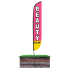 Beauty Salon Feather Flag Pink Height: 12ft Assembled on pole height: 15ft with spike stand pole set in ground