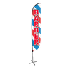 Barber Feather Flag Barber Pole 12ft Assembled on pole height: 15ft with X stand pole set.