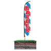 Barber Feather Flag Barber Pole 12ft Assembled on pole height: 15ft with spike  stand pole set in ground