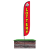 12ft Lottery Feather Flag Red with spike stand pole set in ground