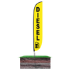 12ft Diesel Feather Flag with spike pole set in ground