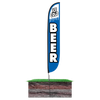 12ft Ice Cold Beer Feather Flag blue with spike stand pole set in ground
