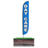 12ft Day Care Feather Flag Blue with spike  stand pole set in ground
