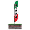 12ft Pizza Feather Flag with spike stand pole set in ground