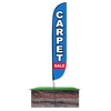 12ft Carpet Sale Feather Flag Blue & Red in ground