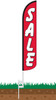 Sale (Red & White) Wind-Free Feather Flag with Ground Spike
