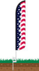 Star Spangled Banner Wind-Free Feather Flag with Ground Spike