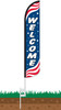 Welcome Patriotic Wind-Free Feather Flag with Ground Spike