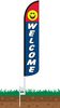 Welcome Smiley Face Wind-Free Feather Flag with Ground Spike