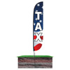 Tax Feather Flag American Flag Red White Blue in ground