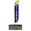 Tire Alignment Feather Flag Blue in Ground