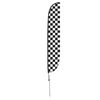 Black & White Checkered Feather Flag with Ground Spike