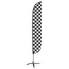 Black & White Checkered Feather Flag with X-Stand