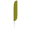 Black & Yellow Checkered Feather Flag with Ground Spike