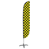 Black & Yellow Checkered Feather Flag with X-Stand