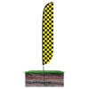 Black & Yellow Checkered Feather Flag in ground