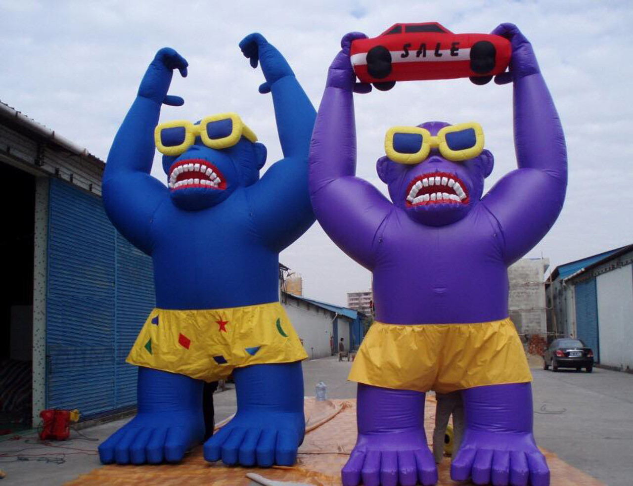 Giant Purple Gorilla With Glasses And Shorts