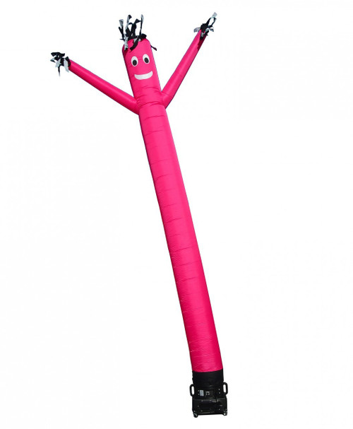 Pink air dancer by.  This solid pink colored air dancer comes with black fingers, black hair and stands a full 20ft tall.  This product is also commonly referred to as a pink sky dancer, pink tube man, or pink fly guy. The constant dancing motion produced by this air dancer product is ideal for gaining the attention of passer-buyers & onlookers. Fits all 18inch diameter blowers by velcro mount.