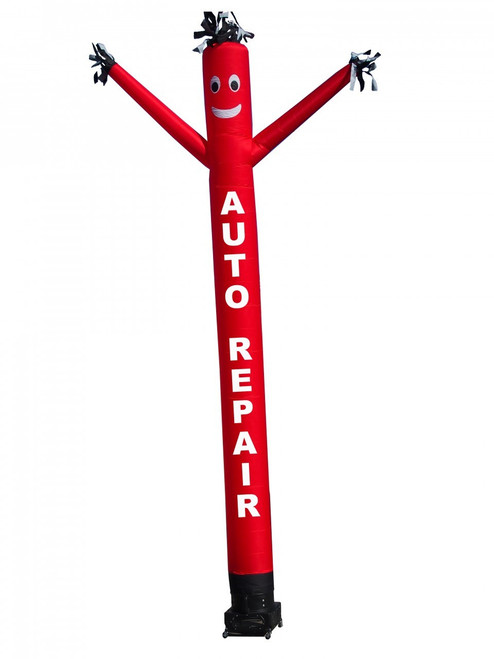 """AUTO REPAIR air dancer.  This red color air dancer has the letters """"AUTO REPAIR"""" embroidered to the body in white letters (longest lasting method).  This inflatable advertising product will promote your business like no other product or service can. Get your auto repair business noticed today with the use of inflatable advertising products"""