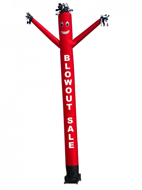 """BLOW OUT air dancer  (as pictured). This 20ft tall red air dancer has the words """"BLOWOUT SALE"""" embroidered to the body in bold white letters (longest lasting method for adding letters). This dynamically dancing inflatable advertising air dancer product will promote your businesses sale like no other product or service can. Get your business or event noticed today with the use of inflatable advertising air dancer products"""