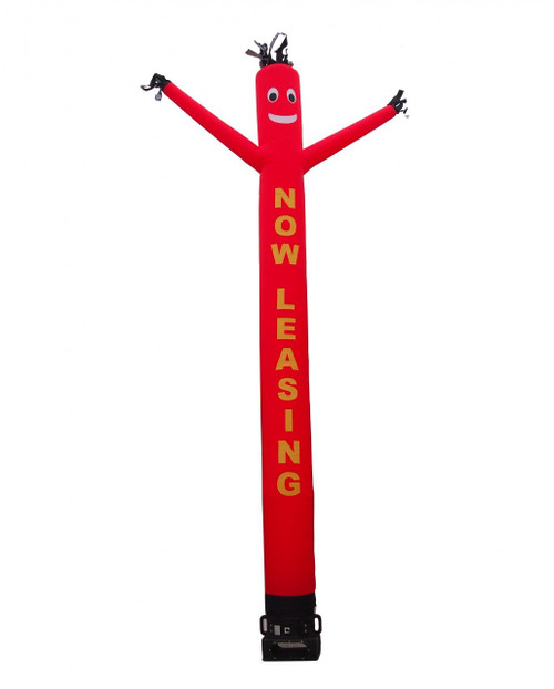 "Now leasing air dancer with red body and yellow letters.  This red color air dancer has the letters ""NOW LEASING"" embroidered to the body in bold yellow letters (longest lasting method for adding letters). This inflatable dynamically dancing advertising product will promote your business like no other product or service can. Get your business or event noticed today with the use of inflatable advertising air dancer products"
