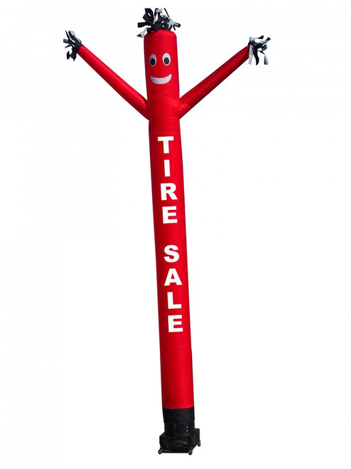 "TIRE SALE air dancer with the letters ""TIRE SALE"" added to it.  This Red color air dancer with white letters will promote your business like no other product or service can. Get your auto business or tire shop business noticed today."