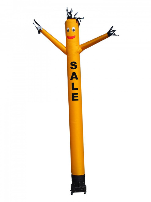 "Yellow SALE air dancer by Go Big Advertising (as pictured). This 20-ft tall yellow air dancer has the word ""SALE"" embroidered to the body in bold black letters (longest lasting method for adding letters). This dynamically dancing inflatable advertising air dancer product will promote your business/event like no other product or service can. Get your business or event noticed today with the use of inflatable advertising air dancer products."
