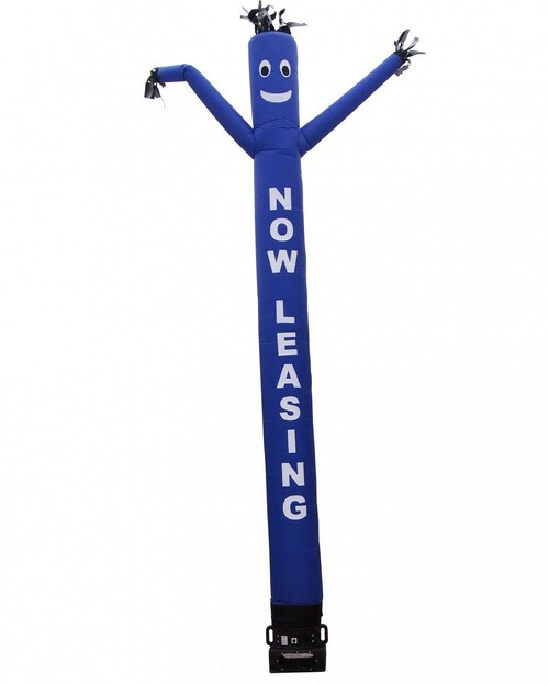 """Air dancer with the letters """"NOW LEASING"""" by Go Big Advertising  with blue body and white letters.  This blue color air dancer has the letters """"NOW LEASING"""" embroidered to the body in bold white letters (longest lasting method for adding letters). This inflatable dynamically dancing advertising product will promote your business like no other product or service can. Get your business or event noticed today with the use of inflatable advertising air dancer products"""