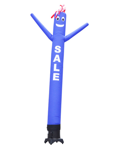 ".Blue SALE 10ft tall Air Dancer attachment by Go Big Advertising  This 10ft tall blue air dancer has the word ""SALE"" embroidered to the body in bold white letters (longest lasting method for adding letters). The 10 foot tall and 12 inch diameter air dancer is ideal for small retail businesses with limited space. This 10ft tall dancing inflatable advertising product will promote your business or sale like no other product or service can.  Get your business noticed today with the use of inflatable advertising air dancer products.   #1 brand in inflatable adverting."