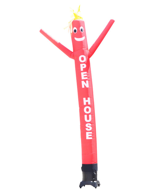"Red SALE 10ft tall Air Dancer attachment.  This 10ft tall red air dancer has the word ""OPEN HOUSE"" embroidered to the body in bold white letters (longest lasting method for adding letters). The 10 foot tall and 12 inch diameter air dancer is ideal for small retail businesses with limited space. This 10ft tall dancing inflatable advertising product will promote your business or sale like no other product or service can.  Get your business noticed today with the use of inflatable advertising air dancer products.  #1 brand in inflatable adverting."