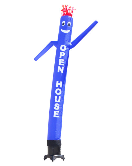 """Blue SALE 10ft tall Air Dancer attachment.  This 10ft tall blue air dancer has the word """"OPEN HOUSE"""" embroidered to the body in bold white letters (longest lasting method for adding letters). The 10 foot tall and 12 inch diameter air dancer is ideal for small retail businesses with limited space. This 10ft tall dancing inflatable advertising product will promote your business or sale like no other product or service can.  Get your business noticed today with the use of inflatable advertising air dancer products. #1 brand in inflatable adverting."""