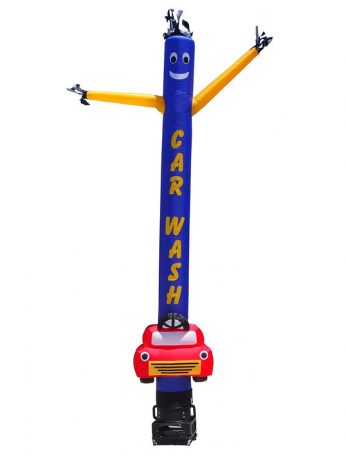 15ft Car Wash yellow letters on blue Air Dancer with yellow arms and custom red car shape included.