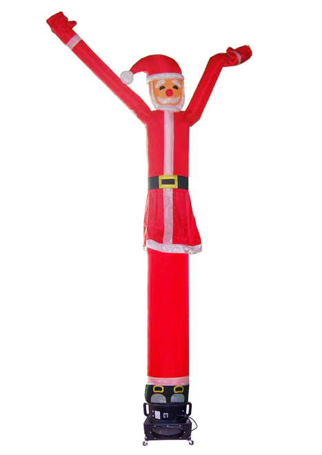 Santa Claus shaped and themed air dancer.