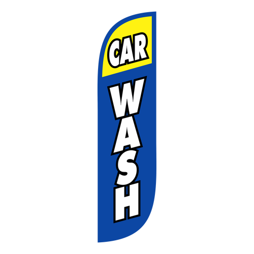 Car Wash Feather Flag Blue & Yellow