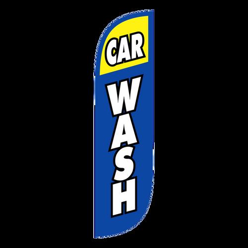 Car Wash Feather Flag Blue & Yellow