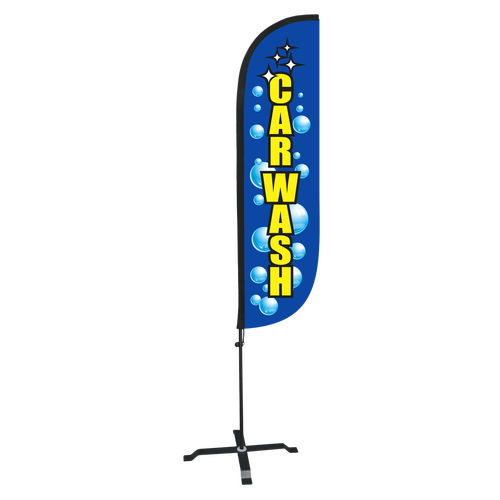Car Wash Feather Flag with Bubbles - 5ft with X stand