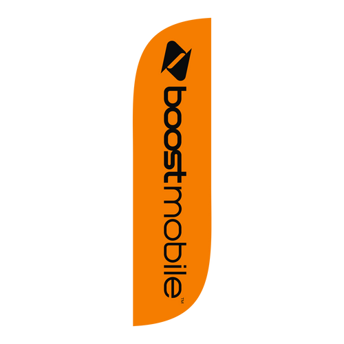 Boost Mobile Orange 5ft feather flag with new logo.