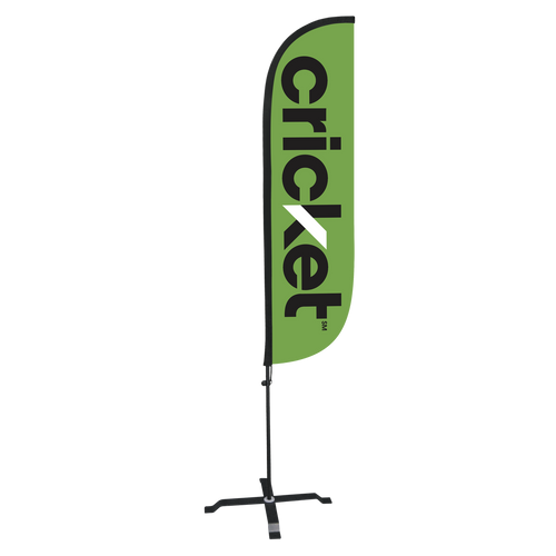 5ft Cricket feather flag with X stand