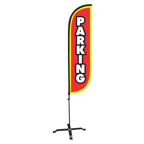 5ft Parking feather flag with X stand